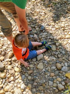 Toddler with fossils